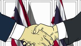 Zakenlieden of politicischokhanden tegen vlaggen van Thailand Officiële vergadering of samenwerking verwant beeldverhaal royalty-vrije illustratie