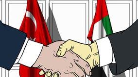 Zakenlieden of politicischokhanden tegen vlaggen van Turkije en de V.A.E Officiële vergadering of samenwerking verwant beeldverha stock illustratie