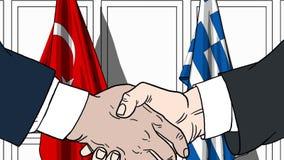 Zakenlieden of politicischokhanden tegen vlaggen van Turkije en Griekenland Officiële verwante vergadering of samenwerking vector illustratie