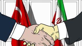 Zakenlieden of politicischokhanden tegen vlaggen van Turkije en Iran Officiële vergadering of samenwerking verwant beeldverhaal vector illustratie