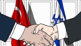 Zakenlieden of politicischokhanden tegen vlaggen van Turkije en Israël Officiële verwante vergadering of samenwerking royalty-vrije illustratie