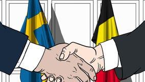 Zakenlieden of politicischokhanden tegen vlaggen van Zweden en België Officiële verwante vergadering of samenwerking vector illustratie