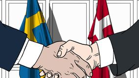 Zakenlieden of politicischokhanden tegen vlaggen van Zweden en Denemarken Officiële verwante vergadering of samenwerking vector illustratie