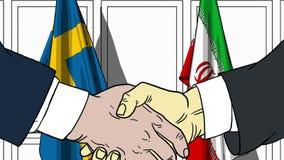 Zakenlieden of politicischokhanden tegen vlaggen van Zweden en Iran Officiële vergadering of samenwerking verwant beeldverhaal stock illustratie