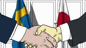 Zakenlieden of politicischokhanden tegen vlaggen van Zweden en Japan Officiële verwante vergadering of samenwerking royalty-vrije illustratie