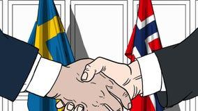 Zakenlieden of politicischokhanden tegen vlaggen van Zweden en Noorwegen Officiële verwante vergadering of samenwerking vector illustratie