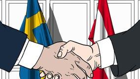 Zakenlieden of politicischokhanden tegen vlaggen van Zweden en Oostenrijk Officiële verwante vergadering of samenwerking stock illustratie