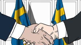 Zakenlieden of politicischokhanden tegen vlaggen van Zweden Officiële vergadering of samenwerking verwant beeldverhaal stock illustratie