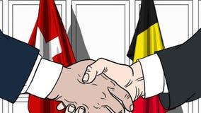 Zakenlieden of politicischokhanden tegen vlaggen van Zwitserland en België Officiële verwante vergadering of samenwerking vector illustratie