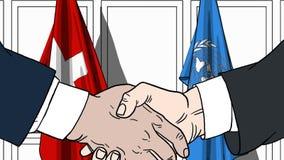 Zakenlieden of politicischokhanden tegen vlaggen van Zwitserland en de Verenigde Naties Officiële vergadering of samenwerking vector illustratie