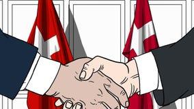 Zakenlieden of politicischokhanden tegen vlaggen van Zwitserland en Denemarken Officiële verwante vergadering of samenwerking royalty-vrije illustratie