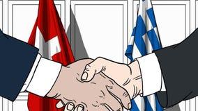 Zakenlieden of politicischokhanden tegen vlaggen van Zwitserland en Griekenland Officiële verwante vergadering of samenwerking vector illustratie