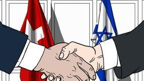 Zakenlieden of politicischokhanden tegen vlaggen van Zwitserland en Israël Officiële verwante vergadering of samenwerking vector illustratie