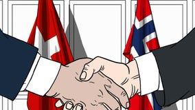 Zakenlieden of politicischokhanden tegen vlaggen van Zwitserland en Noorwegen Officiële verwante vergadering of samenwerking vector illustratie