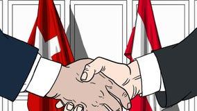 Zakenlieden of politicischokhanden tegen vlaggen van Zwitserland en Oostenrijk Officiële verwante vergadering of samenwerking vector illustratie