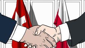 Zakenlieden of politicischokhanden tegen vlaggen van Zwitserland en Polen Officiële verwante vergadering of samenwerking royalty-vrije illustratie