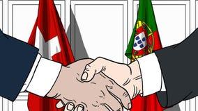 Zakenlieden of politicischokhanden tegen vlaggen van Zwitserland en Portugal Officiële vergadering of samenwerking vector illustratie