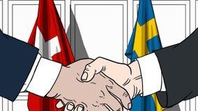 Zakenlieden of politicischokhanden tegen vlaggen van Zwitserland en Zweden Officiële verwante vergadering of samenwerking royalty-vrije illustratie