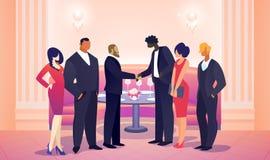 Zakenlieden Team Leaders Meet voor Succesvolle Overeenkomst royalty-vrije illustratie