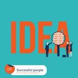 Zakenlui die de ingrediënten van een idee analyseren: het harde werk Stock Foto's