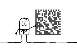 Zakenman & cryptogram Stock Afbeeldingen