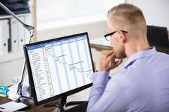 Zakenman Analyzing Gantt Chart op Computer stock afbeelding