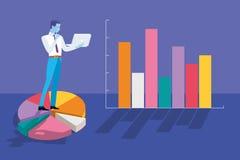 Zakenman Analyzing Graphs en Statistieken royalty-vrije illustratie