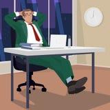 Zakenman in avond in werkplaats wordt ontspannen die stock illustratie