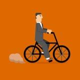 Zakenman On Bicycle ecolevensstijl vervoer Royalty-vrije Stock Afbeelding
