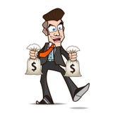 Zakenman blij van geldbeeldverhaal Stock Afbeeldingen