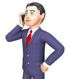 Zakenman Calling Represents Render die en Ondernemers het 3d Teruggeven spreken Royalty-vrije Stock Afbeelding