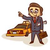 Zakenman Catching een Taxi royalty-vrije illustratie