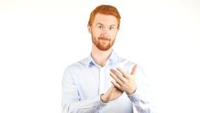 Zakenman Clapping, het Toejuichen, witte achtergrond stock foto's