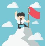 Zakenman Climbing boven op Piek royalty-vrije illustratie