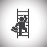 Zakenman Climbing Ladder Stock Afbeelding