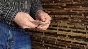 Zakenman Counting Money. stock videobeelden