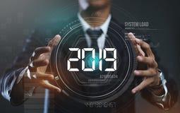 Zakenman Creating Circle HUD Hologram 2019 royalty-vrije stock afbeelding