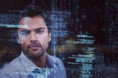 Zakenman in 3D bureau Stock Foto