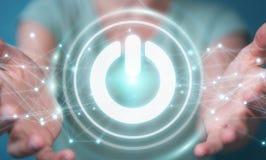 Zakenman 3D gebruiken geeft machtsknoop met verbindingen terug Royalty-vrije Stock Afbeeldingen