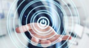 Zakenman 3D houden geeft machtsknoop met zijn hand terug Stock Afbeelding
