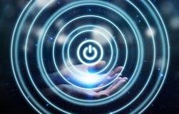 Zakenman 3D houden geeft machtsknoop met zijn hand terug Royalty-vrije Stock Afbeeldingen