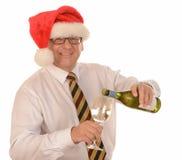 Zakenman in de Hoed van de Kerstman royalty-vrije stock foto's