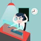 zakenman die aan computerproblemen werken Stock Afbeelding
