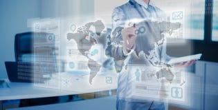 zakenman die aan 3D grafiek werken Royalty-vrije Stock Afbeelding