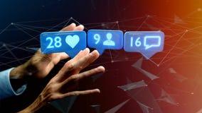 Zakenman die a als, Aanhanger en berichtbericht houden Stock Fotografie