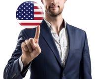 Zakenman die bel met de vlag van de V.S. delen stock fotografie