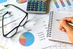 Zakenman die bij de van het Bedrijfs bureaubureau financiële boekhouding werken Stock Afbeelding