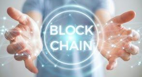 Zakenman die blockchain 3D renderi van de cryptocurrencyinterface gebruiken Royalty-vrije Stock Foto
