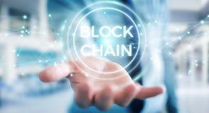 Zakenman die blockchain 3D renderi van de cryptocurrencyinterface gebruiken Stock Foto