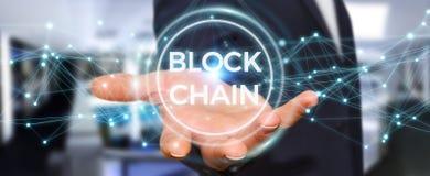 Zakenman die blockchain 3D renderi van de cryptocurrencyinterface gebruiken Royalty-vrije Stock Afbeelding